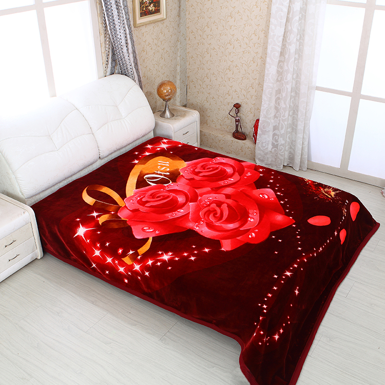 Alibaba China Super warm double layer knitted flower 3D printed raschel blanket