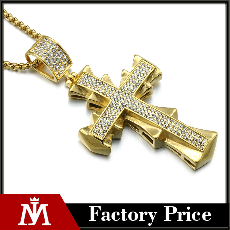 MJ Jewelry Gold Plated Stainless Steel HipHop Full Crystal Cross Necklace For Men Rock Music Jewelry