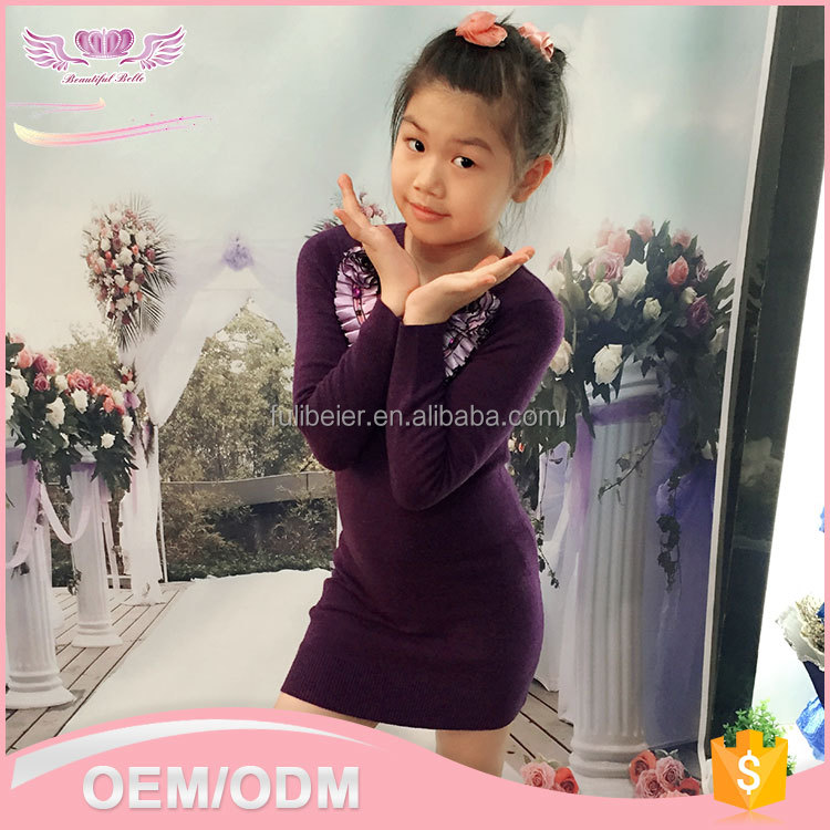 Custom unique design Autumn children girl korean simple long sleeve model photos without dress