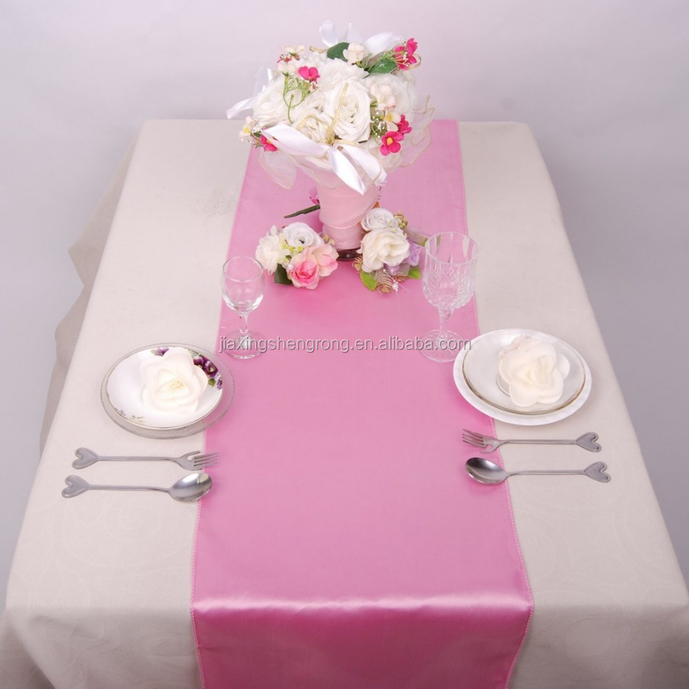 "5% discount! 10pcs 14""*108"" Satin table runner for Wedding Dining pink"