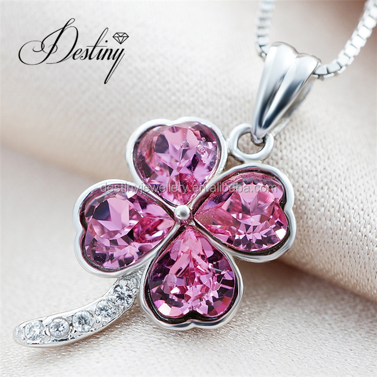 2017 925 silver four leaf clover necklace pendant for women Crystals from Swarovski