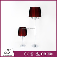 Weighted Floor Lamp/ Chrome stand red fabric floor light for living room
