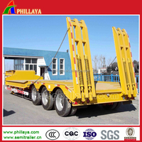 Three fuwa axles lowboy trailer with ABS system to transport heavy duty equipments