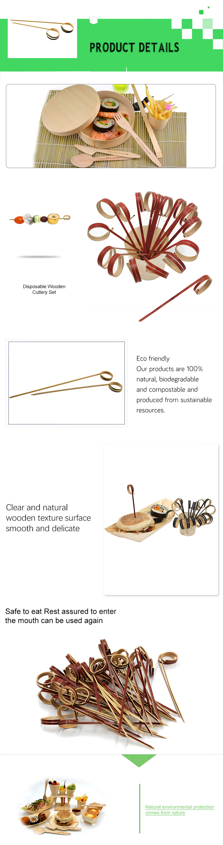 Unique design disposable bamboo food ring skewers