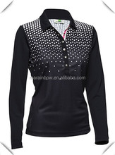 custom made Daily Sports Kit golf L/S long sleeve Ladies Golf Polo shirts 1/4 zip pullover fashion sublimation printing
