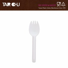 White Disposable Plastic Dessert Fork and Spoon