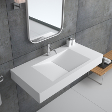 BS-8408Solid surface bathroom sink , natural hanging stone resin basin