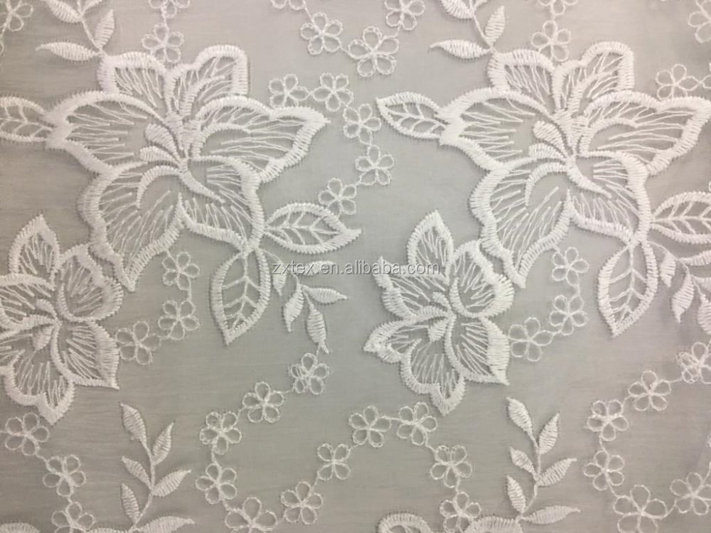 floral design, white color embroidered organza fabric for fashionable apparel, dress