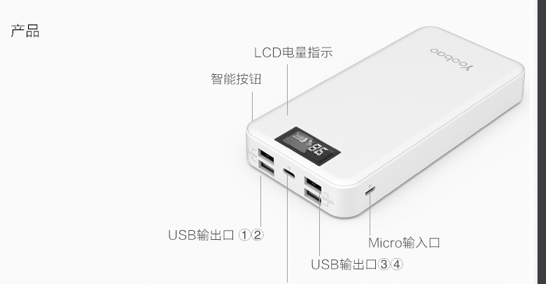 YOOBAO Charger power bank mobile power bank 20000mAh battery charger