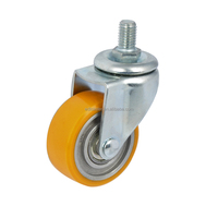 "EDL Mini Duty 2"" 40Kg Polyurethane Wheels Castors Threaded Swivel Small Industrial Hi-speed Casters Wheels for trolley cart"