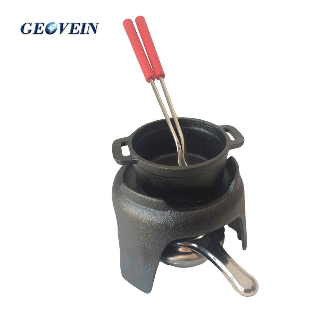 Factory price 5 pcs set Cast Iron Mini Chocolate Fondue pot Set