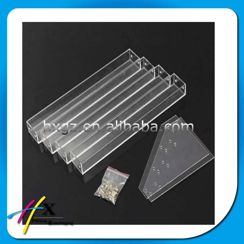 Convenient acrylic sheet assembled clear display shelf for nail polish and famous perfume