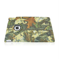 Hot Selling Yellow Leaves Camouflage Pattern Rotation Foldable Flip Stand Leather Case For Apple iPad 2 3 4