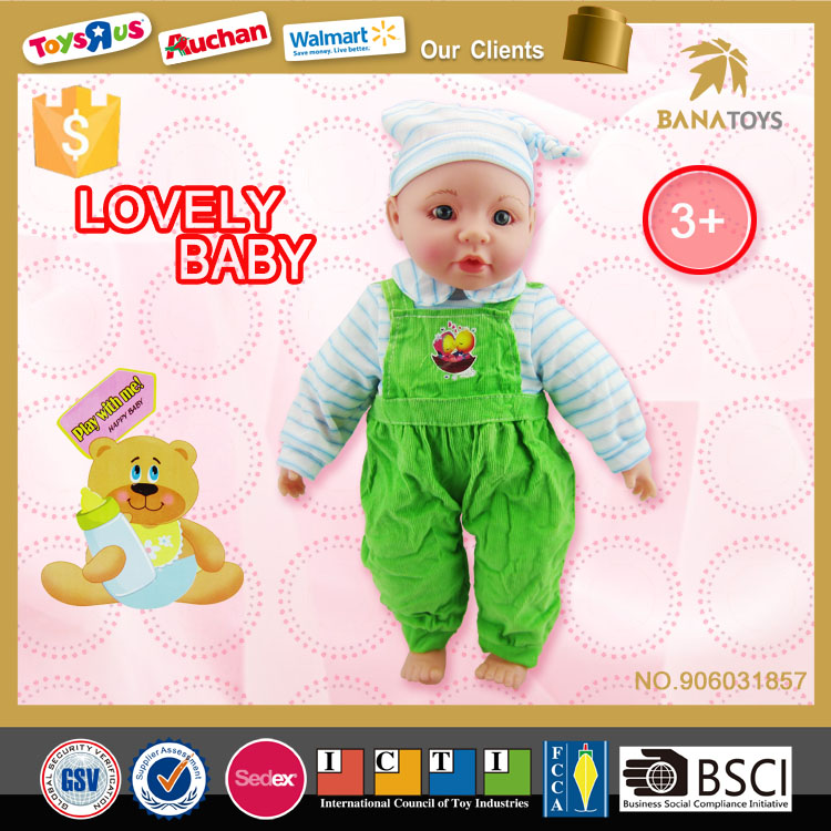 Lovely stuffed toy soft 16 inch silicone child doll