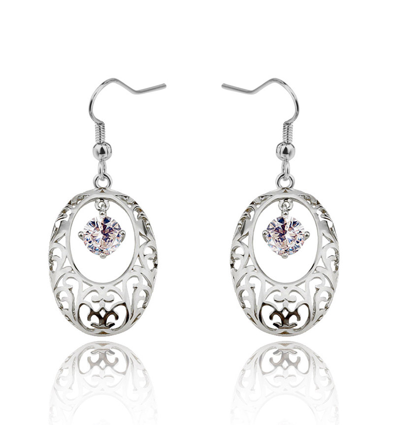 Indian vintage silver plated drop hollow flower dangle <strong>earrings</strong>