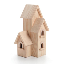 Unfinished high quality natural handcraft cute mini castle style wooden bird house