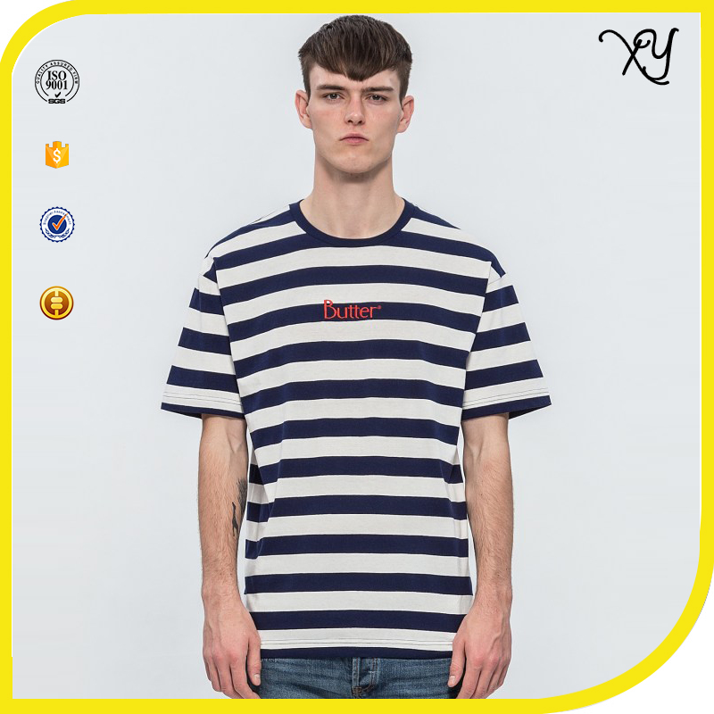 Whoelsale high quality flat knit stripe t-shirt.custom white and blue with embroider hot basic t-shirt