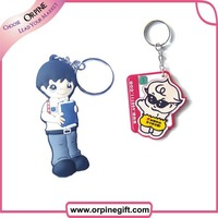 colorful custom made soft plastic 2D cartoon character key chain