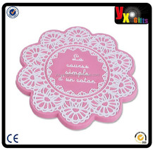 Pink slip-resistant pvc rubber coasters soft table cup mat