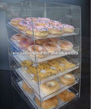 Large Transparent Acrylic Bakery Bread and Cakes Retail Display Showcase Acrylic Pastry Bakery Donut Bagels Cookie Display Case