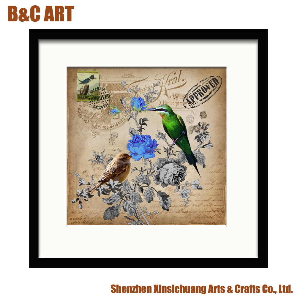 Framed Abstract Animal Picture Inkjet Printing Bird Designs Fabric Painting for Bedroom Decoration