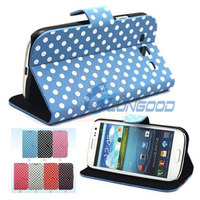 New Polka Dots Stand Stylish Leather Case Cover For Samsung Galaxy S3 i9300