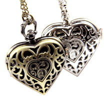 silver bronze love shape Alloy Key watches Chains Heart Shape Love lady gift pocket watch for women ladies factory direct sales
