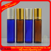 Roll on sealling type glass bottle with roller for perfume essential oil