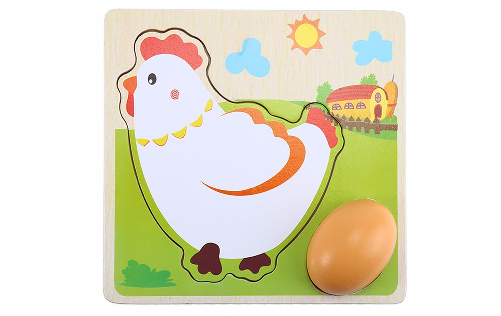 Mulit Layer Chicken Hen Growing Up Cartoon Children Kids Wooden Puzzles Panel Process Early Emulational Eggs Toys