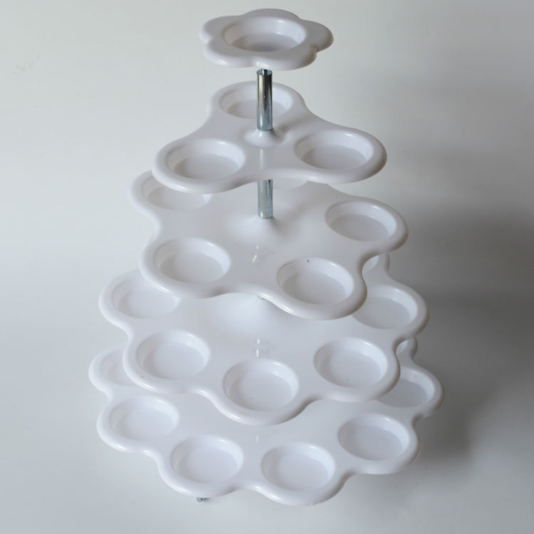 Plastic 5 Tier Cake Decorating White Wedding Party Cupcake Stand