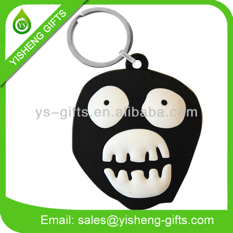 Skull Head Design Rubber Keyring
