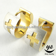 Cross carved gold earrings new model 2012 huggie style korean fashion earring