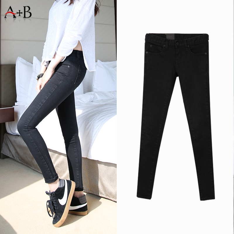Wholesale black classic women high waisted skinny stretch jeans