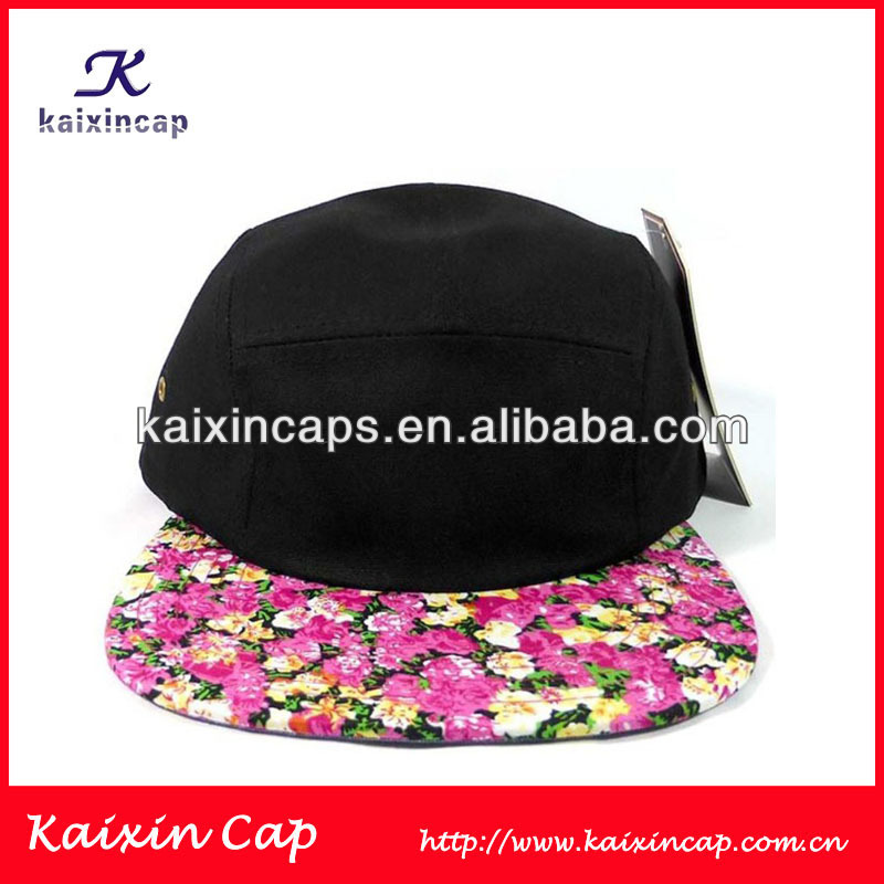 OEM Wholesale Custom 5 Panels Camper Hat/Cap Flower Pattern Cotton Crown Digital Printing Peak Cap/Hat Fashion Design