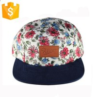 Wholesale New Custom-made Plain Print Floral Fabric Flat Suede Brim Leather Strap Adjustable 5 Panel Snap Back Camp Hat And Cap