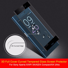 3D full Cover Curved tempered glass screen protector for Sony Xperia X/XP/ XA/XZ/X compact/XA ULTRA tempered glass screen guard
