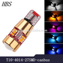 High quality 12V canbus T10 3014 led 27smd bulbs for car or trucks dome reading parking reserve light