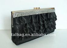 fashion black satin lady wallet