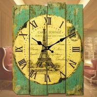 Best place to buy cheap gear eiffel tower Decoration Wall Clocks for sale
