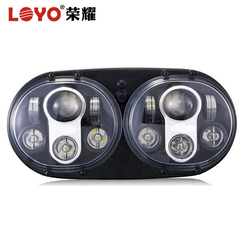 2018 TOP Sale double headlight for harley dual motorcycle headlamps for roadglide with high lumen black sliver