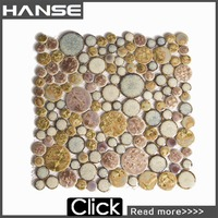 TR3 yellow round paving mosaic of colored sand