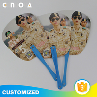 Customizable Eco-friendly PP plastics Round rivet snap PP hand fan