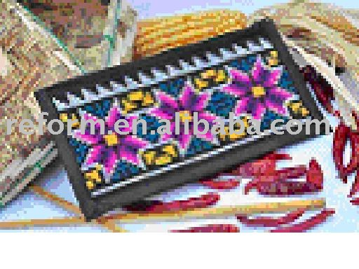 Handmade cross-stitch stationery bag by Qiang minority