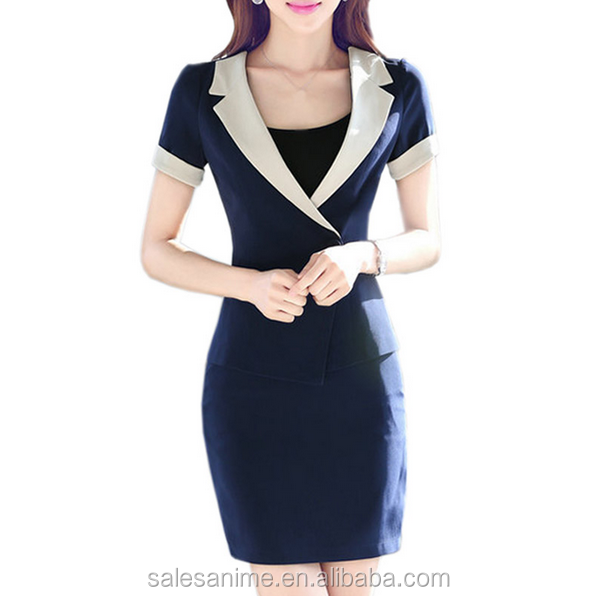 Custom Fashion Women Office Uniform Style 2016 Summer Slim Blazers Skirts Sets Skirt Suit