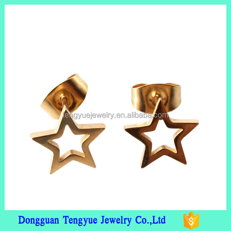 New Arrival Ear Jewelry 316L Surgical Stainless Steel Star Gold Ear Rings for Women