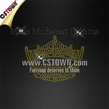 Wholesale rhinestone transfer design Miss Midwest Minois yellow crown hotfix motif