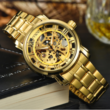 china gold plated skeleton automatic water proof men alloy watch