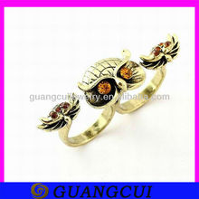 fashion shiny owl shape custom made two finger rings jewelry alloy stretch ring bands