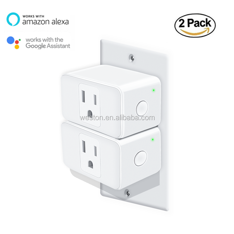 WiFi Smart Plug 2 Pack Mini Power Socket Outlet Wall Smart Switch for Home Auntomation Compatible with Alexa Google Home