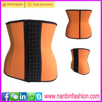 Plus size orange nine steel bone latex cheap waist training corsets